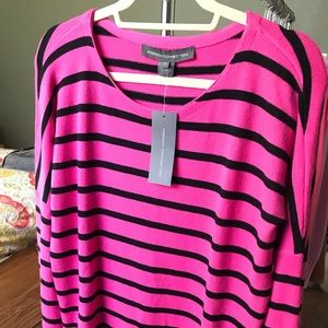 Hot Pink and Black Striped Sweater